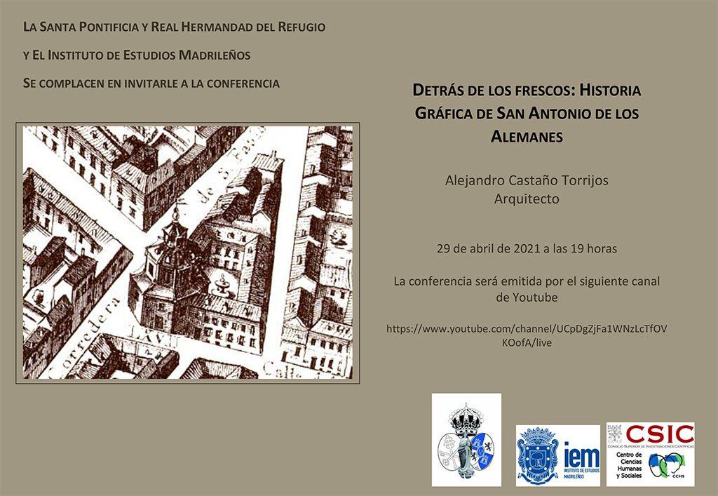 Invitación para la conferencia Detrás de los frescos: Historia gráfica de San Antonio de los Alemanes